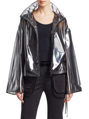 Zip-Front Chiffon-Lined Pvc Jacket in Black