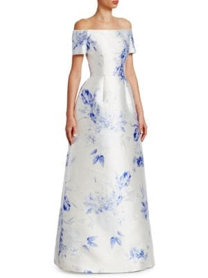 CATHERINE REGEHR Off-The-Shoulder Silk Gown in Blue Floral