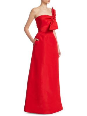 CATHERINE REGEHR Strapless Wrap Gown in Red
