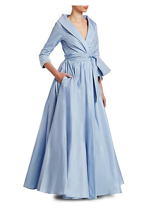 "Image of Lavish silk gown with embellished cuffs. Tuxedo collar.V-neck. Three-quarter sleeves. Inside tie and front hook-and-eye closure. Self-tie at waist. Front on-seam pockets. About 59"" from shoulder to hem. Silk. Dry clean. Imported. Model shown is 5'10"" (177"