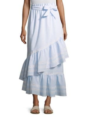 Lace-Trimmed Striped Seersucker Maxi Skirt, Sky Combo