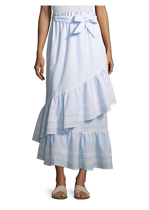 """Image of Seersucker striped skirt with feminine lace and ruffles. Elasticized waistband with self-tie. On-seam pockets. Wraparound ruffles with lace. Asymmetric hem. About 30"""" long. Cotton/polyester. Hand wash. Imported. Model shown is 5'10"""" (177cm) and wearing US"""