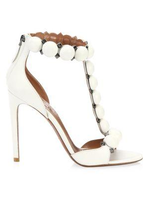 ALAÏA Bombe T-Strap Leather Sandals
