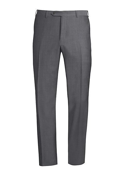 """Image of Sophisticated pants tailored from luxurious wool fabric. Belt loops. Zip fly with button closure. Side-seam pockets. Back buttoned welt pockets. Regular-fit. Rise, about 11"""".Inseam, about 36"""".Leg opening, about 16"""".Wool. Dry clean. Made in Italy."""