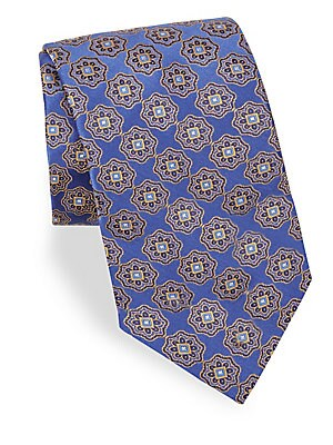 "Image of Allover floral print offers a sleek visual aesthetic to tie 3"" wide Silk Dry clean Made in Italy. Men Luxury Coll - Canali Clothing. Canali. Color: Blue."