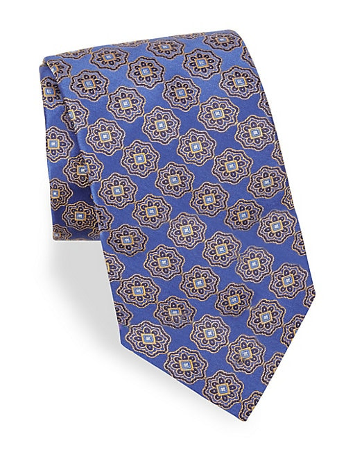 "Image of Allover floral print offers a sleek visual aesthetic to tie.3"" wide. Silk. Dry clean. Made in Italy."