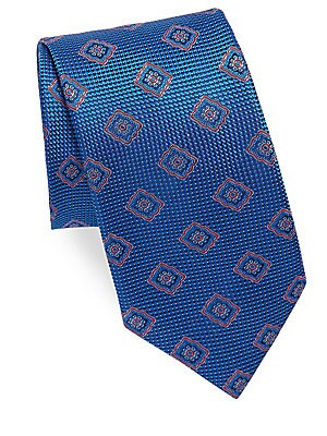 """Image of Deluxe silk tie with a striking jacquard print 3"""" wide Silk Dry clean Made in Italy. Men Luxury Coll - Canali Clothing. Canali. Color: Blue."""