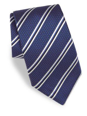 CANALI Double-Stripe Silk Tie in Blue