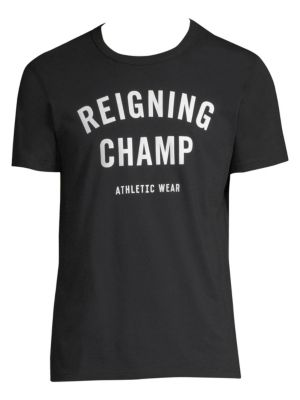 REIGNING CHAMP Gym Logo T-Shirt in Black
