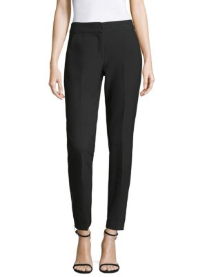 """Image of Tailored crop trousers. Banded waist. Hook-and-bar closure with zip fly. One back pocket. Inseam, about 29"""". Leg opening, about 13"""". Polyester/viscose/cotton/elastane. Dry clean. Made in USA. Model shown is 5'10"""" (177cm) wearing US size 4."""