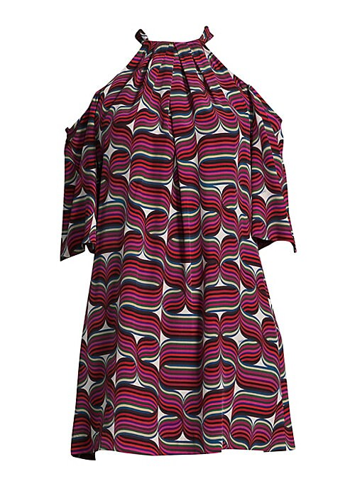 """Image of Shift dress with ribbon and halter details. Mockneck. Cold-shoulder. Elbow-length sleeves. Self-tie at back keyhole. Lined. About 32"""" from shoulder to hem. Silk. Dry clean. Imported. Model shown is 5'10"""" (177cm) wearing size Small."""