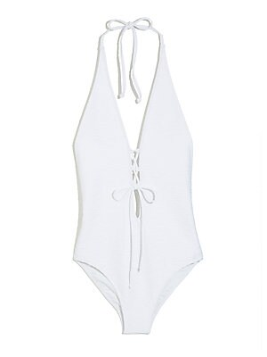 88471b29fc1c8 Milly - One-Piece Halter Wave Jacquard Lace Swimsuit - saks.com