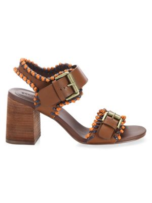 See By Chloe Women'S Leather Whipstitch High Block Heel Sandals, Brown