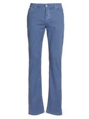 Loro Piana Men's Regular-fit Five-pocket Linen Blend Pants In Blue