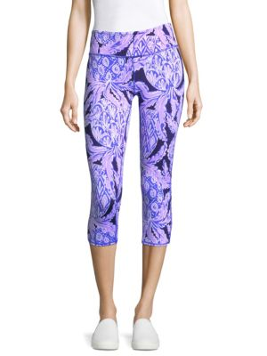 "Image of Pineapple patterned leggings in cropped design. Elasticized waist. Pull-on style. Rise, about 6"".Inseam, about 21"".Polyester/spandex. Machine wash. Imported. Model shown is 5'10"" (177cm) wearing US size Small."