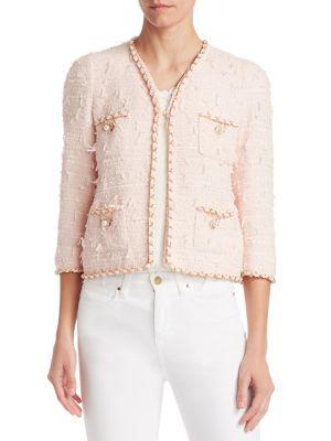 EDWARD ACHOUR Braid-Trimmed Tweed Cropped Jacket in Pink Rose