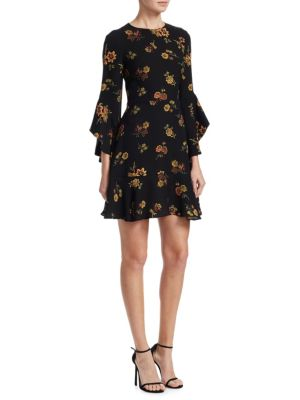 Cassidy Silk Ruffle Bell Sleeve Mini Dress by A.L.C.