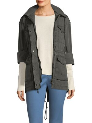 Field Zip-Front Utility Jacket With Stowaway Hood, Steel