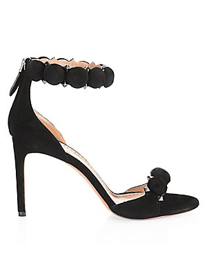 "Image of Suede sandals embellished with pyramid studs Self-covered heel, 3.5"" (90mm) Suede upper Open toe Back zip closure Leather sole Made in Italy. Women's Shoes - Advanced Women's Designe. Alaïa. Color: Black. Size: 38 (8)."
