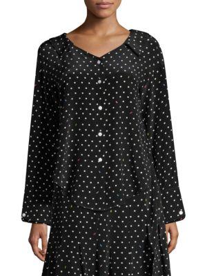 74592ba629 Sandy Liang - Asymmetric Silk Polka-Dot Skirt - saks.com