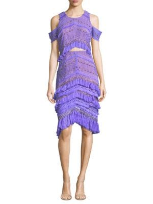 Candy Cold-Shoulder Tassel Dress, Purple