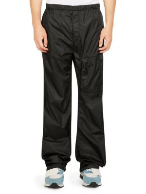 Nylon Track Pants With Logo Patch, Black