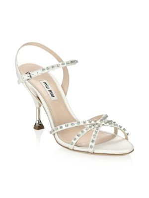 e7b3fdf72 MIU MIU STILETTO HEEL JEWELED LEATHER SANDALS
