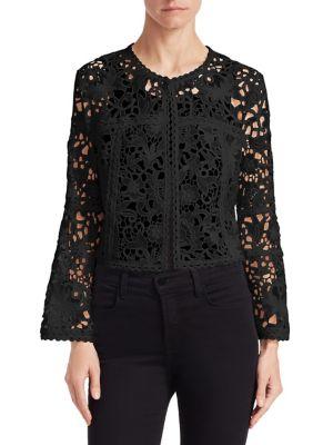 EDWARD ACHOUR Lace Bolero Jacket in Black
