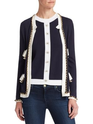 Edward Achour Braid Trim Embellished Cardigan