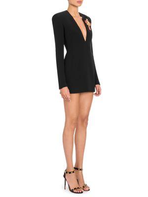 Deep-V Long-Sleeve Cross-Embellished Silk Cocktail Dress, Black