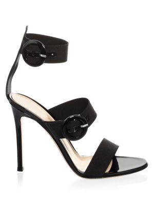 Ankle Strap Leather Sandals in Black