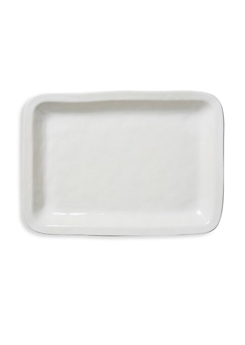 "Image of Elegant ceramic tray to carry various platters. Diameter, 18.75"".Ceramic stoneware. Dishwasher, freezer, microwave and oven safe. Imported."