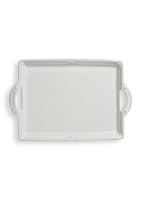 Image of Ceramic tray designed with handles.1 oz. Ceramic stoneware. Dishwasher, freezer, microwave and oven safe. Imported.