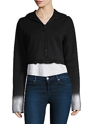 """Image of Classic zip hoodie updated with faded cuffs Attached hood Long sleeves Faded cuffs Zip front Kangaroo front pouch Frayed hem About 22"""" from shoulder to hem Cotton/viscose Machine wash Made in USA of imported fabric Model shown is 5'10"""" (177cm) wearing US"""