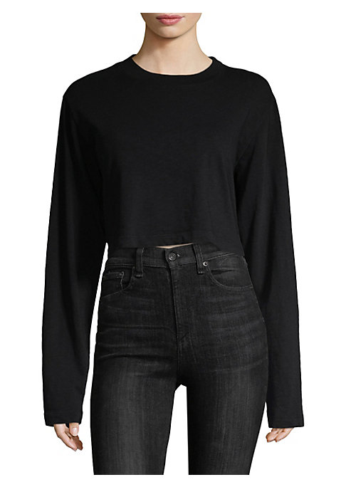 """Image of Cotton pullover in cropped silhouette. Roundneck. Long sleeves. Pullover style. About 20"""" from shoulder to hem. Cotton. Dry clean. Made in USA. Model shown is 5'10"""" (177cm) wearing US size Small."""