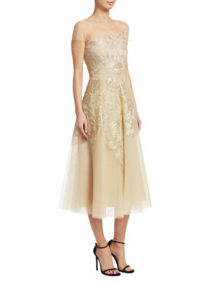 AHLUWALIA Floral Embroidered Tulle Dress in Gold
