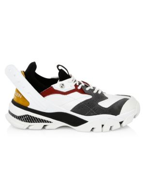 Carla Logo-Print Leather, Rubber And Suede Sneakers, White/ Black/ Red