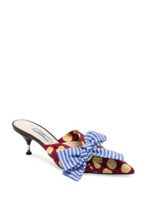 Polka Dot Bow Mule Sandal by Prada