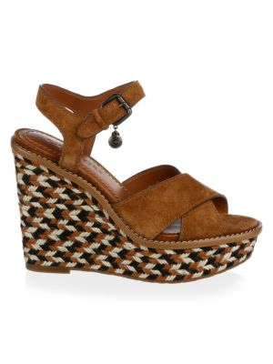 Cross Band Raffia Wedge Sandal by Coach
