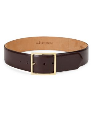 Lg Square Buckle Leather Belt by W. Kleinberg