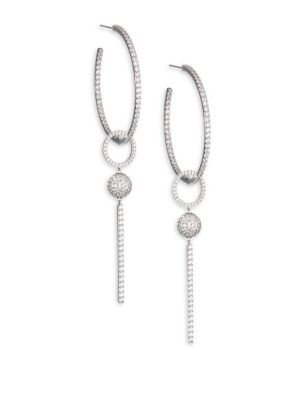 """Image of EXCLUSIVELY AT SAKS FIFTH AVENUE. From the Earring Updates Collection. Striking hoop earrings with double drop adornments. Cubic zirconia. Rhodium-plated brass. Drop, about 3.75"""".Diameter, about 0.5"""".Ear wire. Imported."""