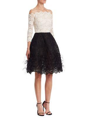 Off-Shoulder Illusion Lace Cocktail Dress, White-Black