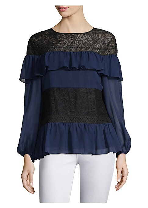 "Image of Airy chiffon blouse featuring feminine ruffles and lace details. Roundneck. Three-quarter balloon sleeves. Back keyhole closure. About 26"" from shoulder to hem. Silk/nylon/cotton/polyester. Dry clean. Imported. Model shownis 5'10"" (177cm) wearing a US siz"