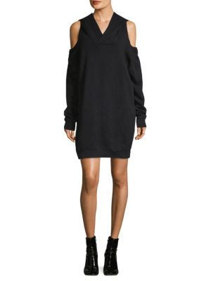 Hooded Sweatshirt Dress in Black