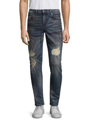 JOE'S Men'S Slim-Fit Distressed Jeans, Burns (Dirty Vintage Medium Indigo) in Blue