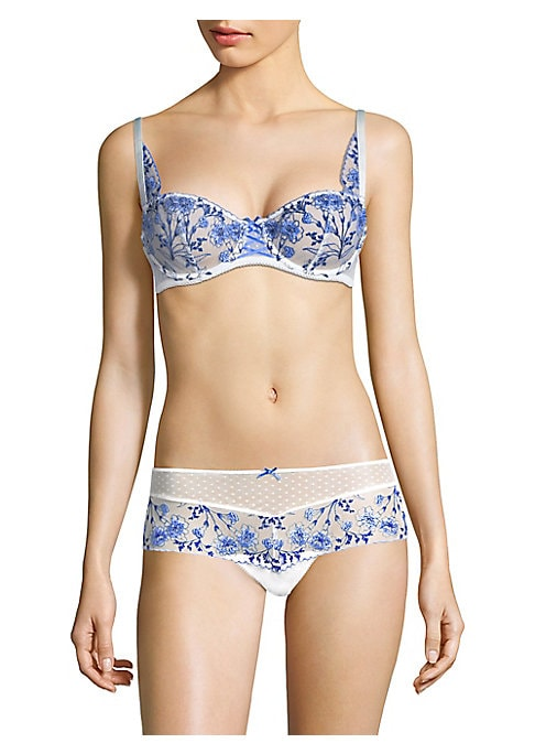 Image of From the Allee des Plaisirs Collection. Lovely bra decorated with vibrant floral embroidery. Demi cup. Adjustable straps. Back hook-and-eye closure. Polyester/polyamide/tulle/elastane. Hand wash. Imported.