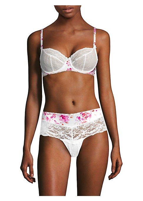 Image of Lace bra with satin bow and gem detail. Moderate coverage. Adjustable shoulder straps. Bow detail at front. Underwire. Back hook-and-eye closure. Lined. Polyamide/elastane. Hand wash. Imported.