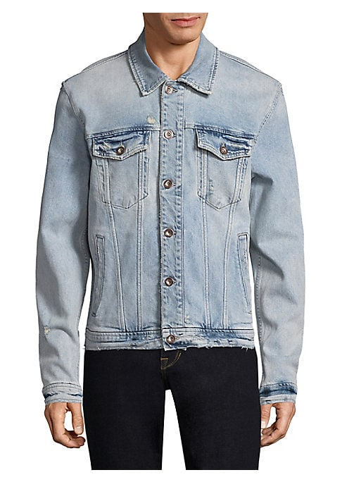 """Image of Classic denim jacket updated with distressed details. Spread collar. Long sleeves. Buttoned barrel cuffs. Button front. Chest buttoned flap patch pockets. Waist welt pockets. About 36"""" from shoulder to hem. Cotton/elastane. Machine wash. Made in USA."""