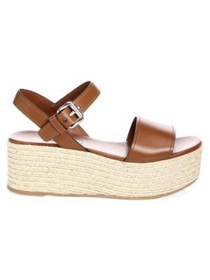28cb22da79d Prada - Raffia Espadrille Wedge Sandals - saks.com