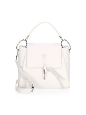 Leigh Top Handle Leather Satchel - White